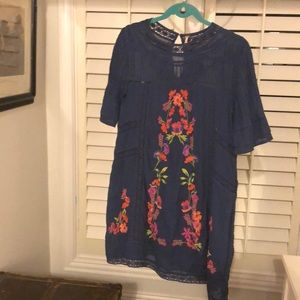 Free People Navy, Floral Embroidered Dress